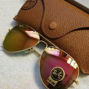 Ray Ban Aviator Sunglasses Pink Flash 58mm…